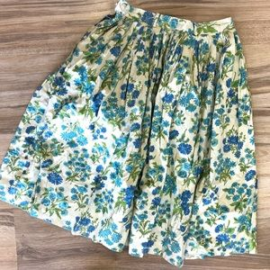 Floral vintage midi skirt blue and green